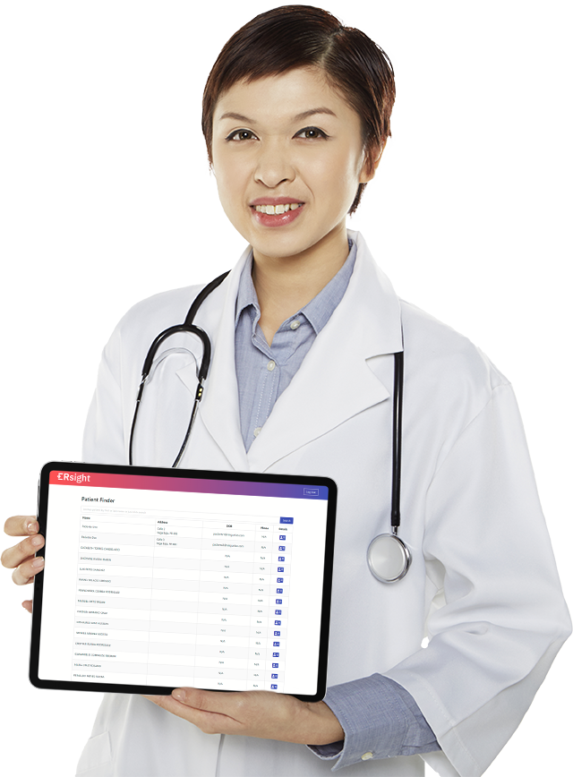 Image of nurse holding a tablet with ERsight dashboard.